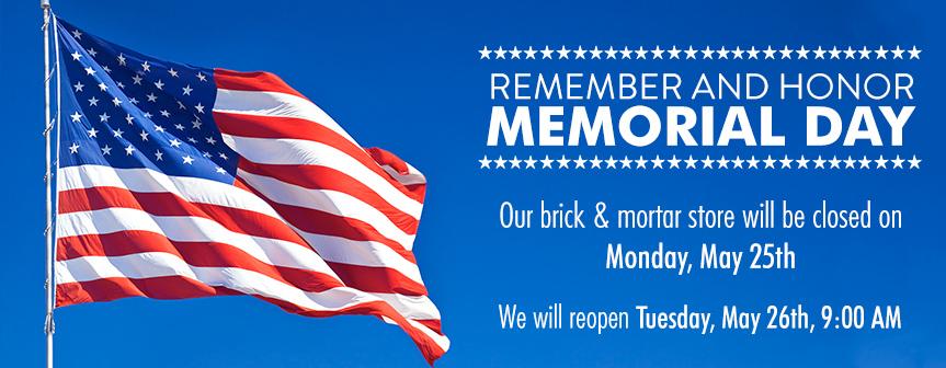 Memorial Day 2020 Store closure
